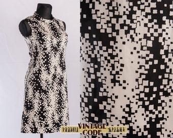 Black White sleeveless abstract print 70s vintage dress  / Monochrome bw spots vintage day dress / size Large XL