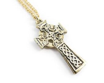 Vintage, Celtic Cross, Necklace, Gold Tone, Chain, STK116