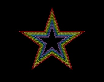 Simple Rainbow Star Embroidery Machine Design