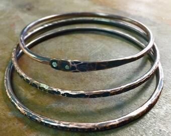 Copper and Sterling Oxidized Hammered Bangle Bracelet Set