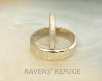 custom wedding rings -- hammered wedding band set in 14k palladium white gold