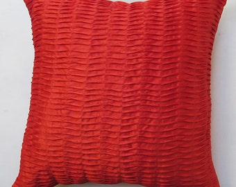 red  pleted decorative   pillow.  bright red pintuck cushion cover euro sham.  26 inch.  custom made