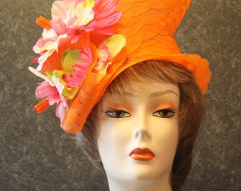 Orange Kentucky Derby Hat, Derby Hat, Garden Party Hat, Tea Party Hat, Easter Hat, Church Hat, Wedding Hat, Downton Abbey Orange Hat 104
