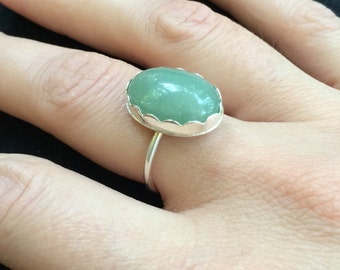 Jade Ring, Fine Silver Ring, Size 8, Silver Ring, Jade Jewelry, Cocktail Ring, Jade and Silver Ring, READY TO SHIP