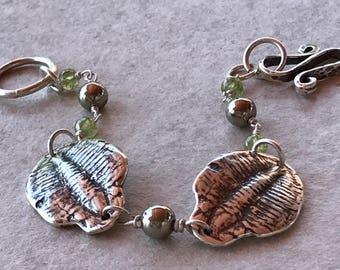 Trilobite Bracelet, Silver Trilobite Necklace, Peridot and Pyrite Bracelet, Sterling Silver Fossil Bracelet, Wire Wrapped Bracelet