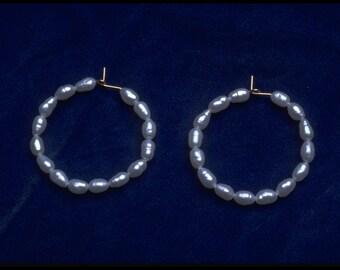14 K goldfilled freshwater pearl hoop earrings