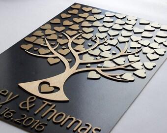 3d wedding guest book Guestbook alternatives Wedding guest book personalized Natural wood wedding guest book alternatives tree and hearts
