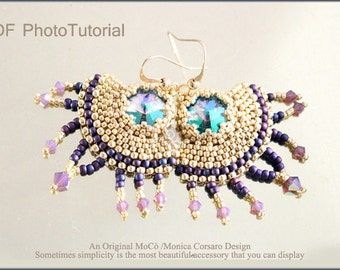 DIY Photo Tutorial Eng-ITA ,*Nuttia* earrings ,PDF Pattern 71 with rivoli, swarovski and seed beads,instructions,bead weaving