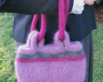 Raspberry, Plum and Mottled Green Felted Knitted Handbag