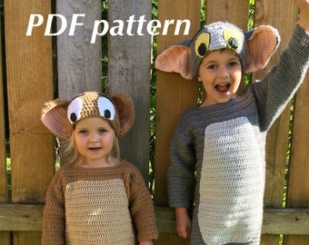 Pattern - Tom and Jerry crochet hats - toddler through adult sizes