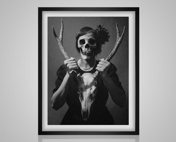Creepy woman with a stag skull vintage black and white strange modern needlecraft pdf cross stitch pattern instant download from buzzbeedesigns on etsy