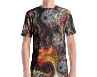 "Fractal Clothing, Fractal Clothes, Mandelbrot Clothes, Infinity, Festival Clothing, Men's ""Elegance"" Fractal Brown, Orange, Yellow, T-shirt"