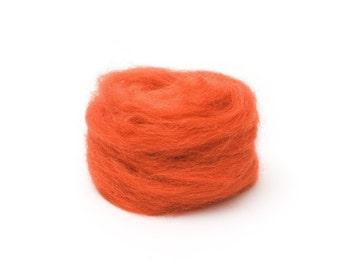 Pumpkin Wool Roving for Felting - 1 oz. Corriedale