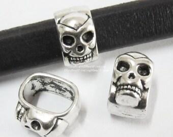 10pcs Licorice skull sliders 10x6mm Licorice Leather bracelet findings -LF09