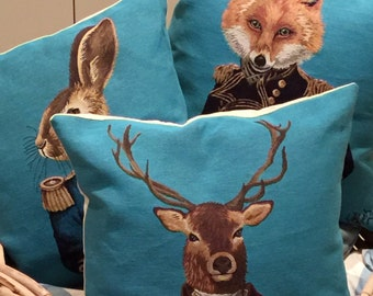 3 belgian tapestry gobelin throw pillow cushion covers fabfunky dressed stag fox and hare