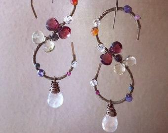 Swirling gem earrings