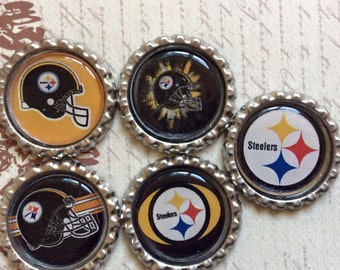 SET of 5 -Steelers Bottle Caps For Pendants, Hairbows Hair Bow Centers - Ready to use