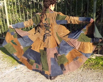 Unique Handmade Corduroy Patchwork Coat