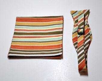 Mens Bow Tie and Pocket Square Set Olive Retro Stripe