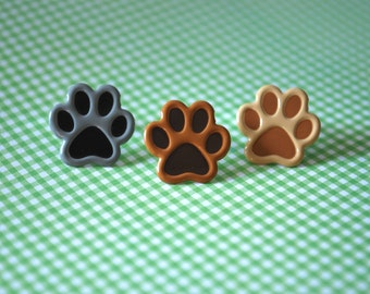 Paw Print Studs -- Paw Prints, Silver, Pick your favorite color!