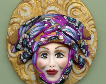 Face cab  Caned hat OOAK Polymer clay Detailed Face Abstract ANCN 1