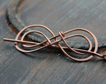 "Hair slide, hair barrette, copper ""Double Infinity"" hair slide, shawl pin, scarf pin, hair pin, hair stick, hair accessories"