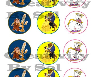 Beauty and the Beast Party Circles/ Cupcake Toppers