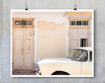 Cuban home decor pale yellow vintage American car Trinidad fine art photography art print wall art big print poster travel photography