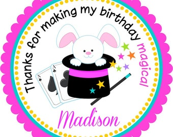 Magic Show Favor Stickers, Personalized Girl Magician Stickers, Magic Gift Tags, Magic Birthday Party - Set of 12