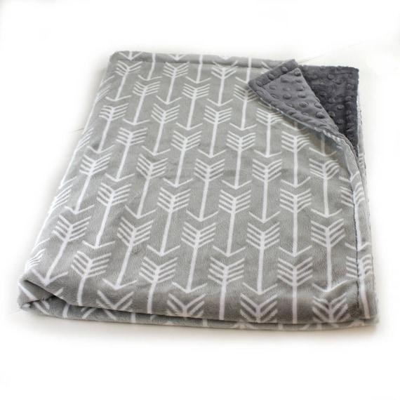 Monogrammed Blanket, Minky Baby Blanket Boy, Personalized baby blanket,Gray Arrow Baby Blanket, Custom Baby Gift, Receiving Blanket
