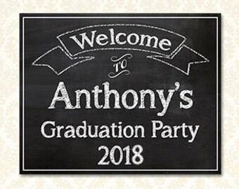Schulabschluss Partei Willkommensschild personalisiert, individuelle bedruckbare Grad Party Zeichen Plakate, Klasse 2018 Grad Party, Schule oder Hochschule
