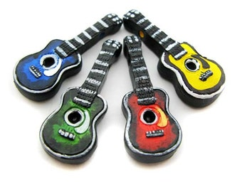 4 Large Mixed Guitar Beads - LG292mix