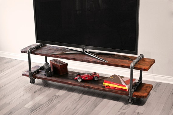 Vintage Industrial Cast Iron Pipe Table Tv Stand