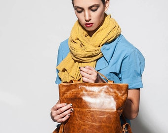 brown leather backpack purse backpack bag - brown leather purse - womens leather backpack women - small leather backpack brown - DAILYBPL