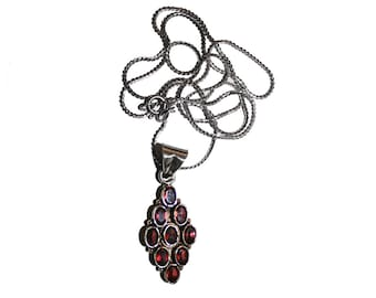 Vintage Sterling Silver and Sapphire Necklace - Vintage red sapphire sterling silver abstract art necklace