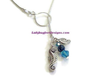 Seahorse Lariat necklace, Blue Swarovski Crystal dangle with Seashell and Seahorse Charms on a 24 inch silver plated snake chain, Beach