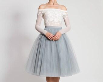 midi skirt -  Grey tulle skirt - long skirt petticoat  - adult tutu skirt - High quality skirt - wedding skirt - party tulle skirt