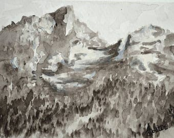 Mountain Study in Black and White, 5x7 inch Original Watercolor Painting