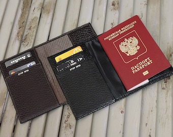 BLACK or BROWN! Men leather passport cover, Passport holder with RFID protection, Passport cover with Rfid security, Rfid block for passport