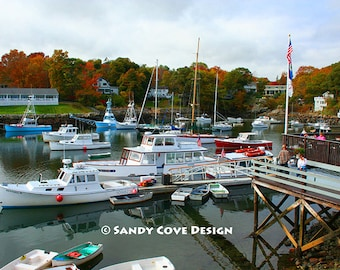 5 x 7 Greeting Card with Envelope - Perkins Cove #4, Ogunquit, Maine, Ocean, Boats, Coast, Seashore, Foliage