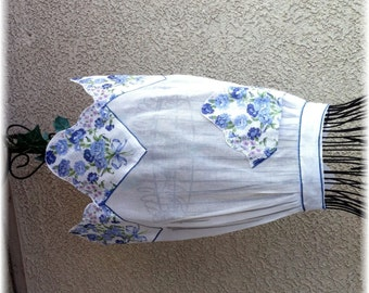 WHITE COTTON SHEER Apron with Blue Handkerchief Trim
