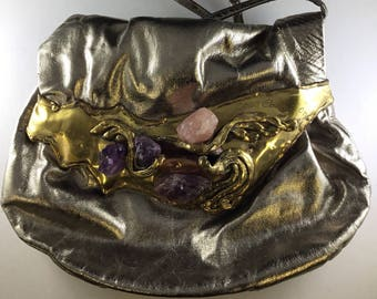 Brutalist Handbag by Copa Collection, signed and made in Brazil, Gold Leather with Brass and Amethyst & Rose Quartz Accents