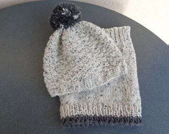 Hat and snood wool ecru boys 3 to 4 years