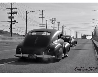 L.A. Noir 1948 Chevy Fleetline 1950 Chevy Deluxe on the 6th St Bridge in Los Angeles, CA. Car Photography
