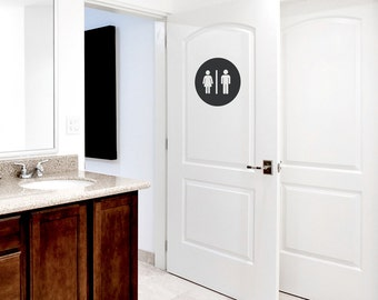 Restroom Circle Wall Decal - Restroom Decal, Unisex Bathroom, Bathroom Door Decal, Restroom Door, Men And Women Bathroom, Restroom Sign