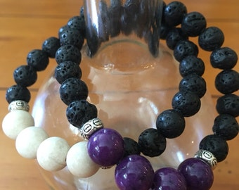 Essential Oil Diffusing Bracelet with 10mm Riverstone and 8mm lava beads