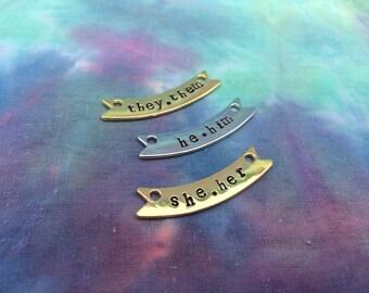 Pronoun Banner Necklaces - Pronoun Jewelry - Pronoun Necklace - Trans Necklace - Trans Jewelry - Pronoun Banner - MTF - FTM