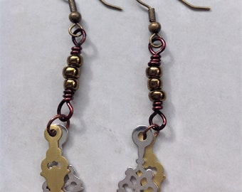 Steampunk Clock Parts Wire Wrapped Dangle Earrings