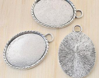4pcs antiqued silver oval picture frames /pendant G784
