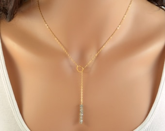 Labradorite Lariat Necklace, Real Gemstone, Simple Lariat, Gold Filled Jewelry, Free Shipping